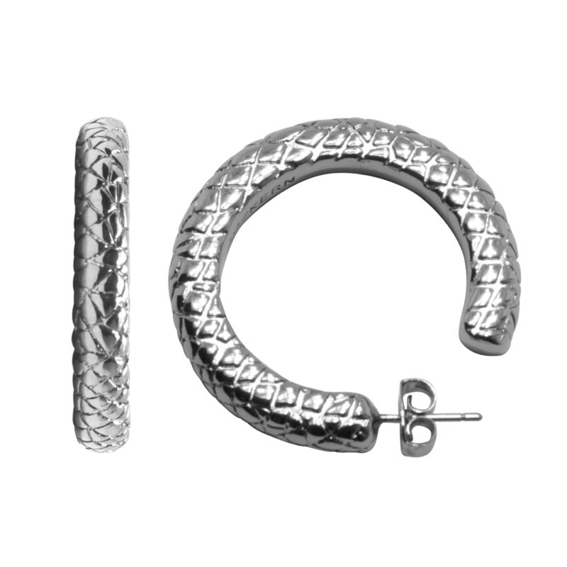 Dyrberg/Kern – Silver Patterned Osongqa Hoop Earrings with Gift Bag