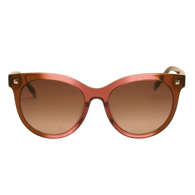 Calvin Klein – Pink Rose & Brown Cat Eye Style Sunglasses with Case