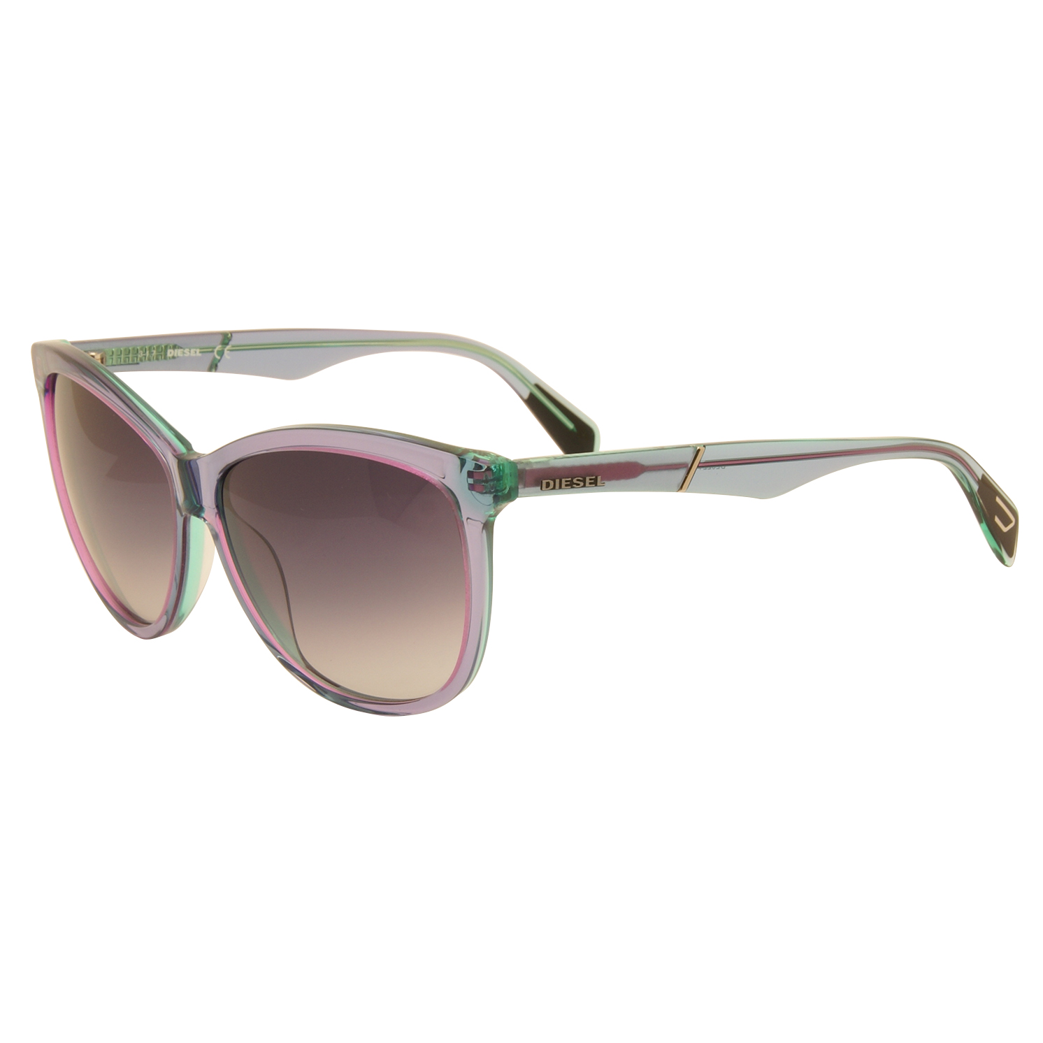 Diesel – Purple and Green Clear Cat Eye Style Sunglasses with Case