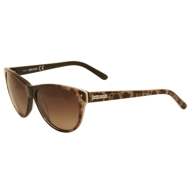 Just Cavalli – Black & Brown Animal Print Cat Eye Style Sunglasses with Case