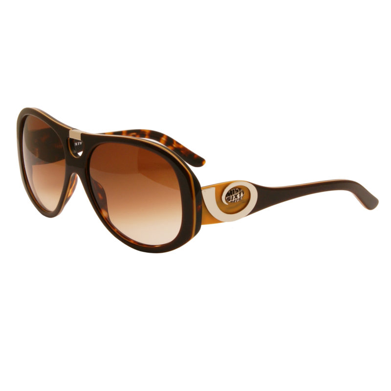 Miss Sixty – Silver Orange Oversized Sunglasses with Case