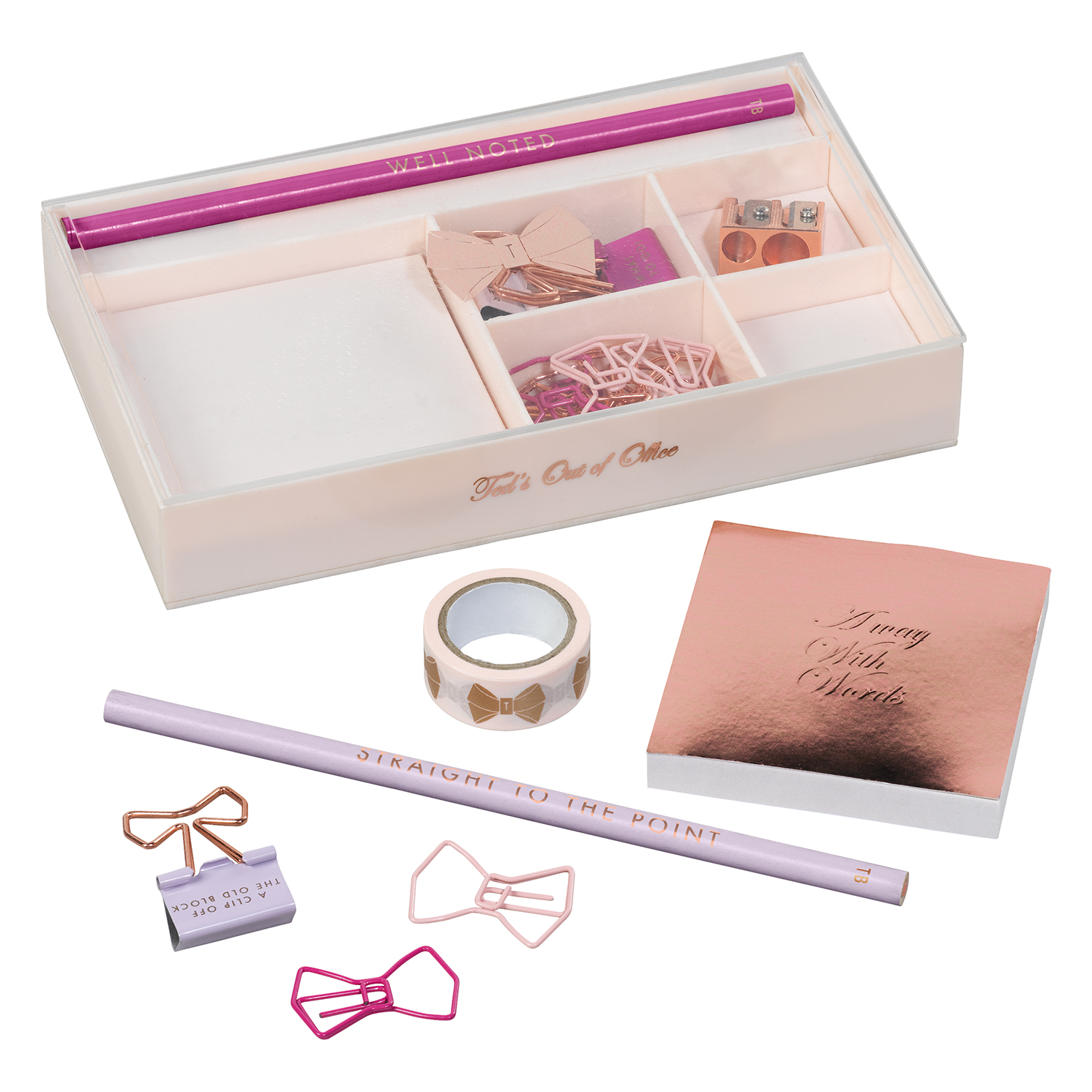 Ted Baker – Teds Out of Office Porcelain Rose Stationery Set in Gift Box