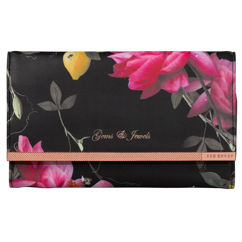 Ted Baker – Black Citrus Bloom Jewellery Roll/Wrap with Rose Gold Trim