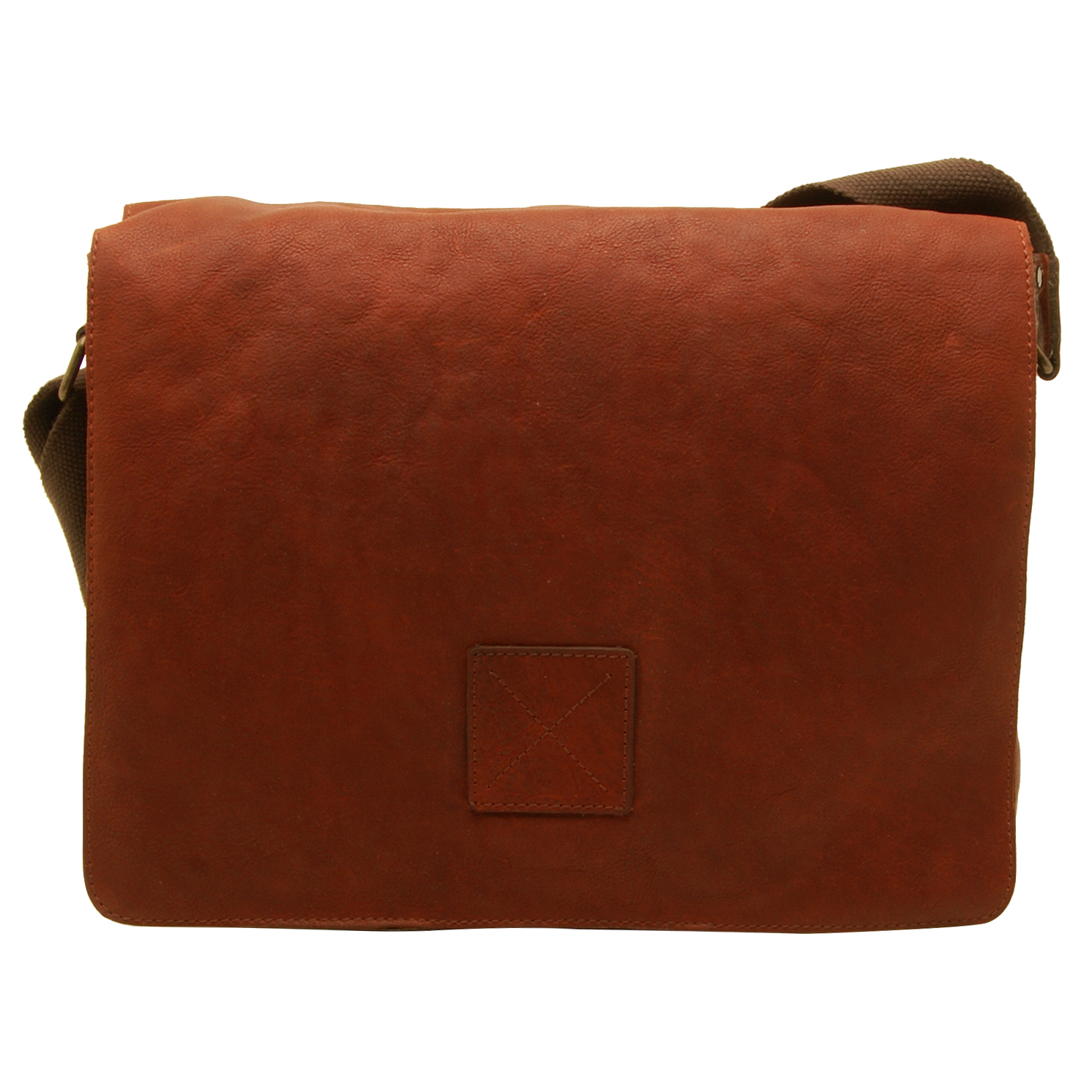 Ashwood – Cognac Pedro Laptop Compatible Messenger Bag in Cow Oily Leather