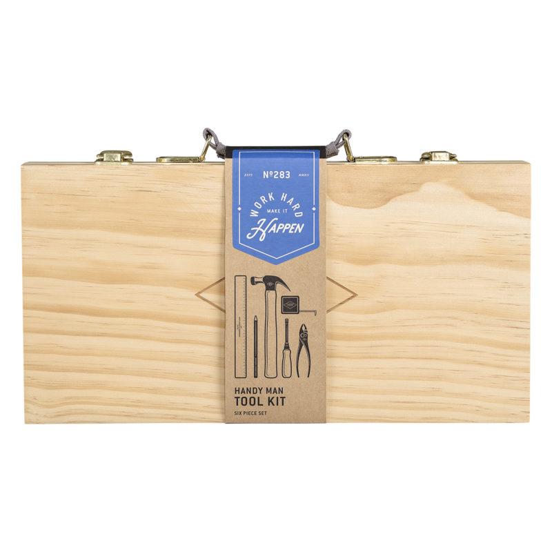 Gentlemen's Hardware – 16 Piece Tool Kit in Beech Wooden Box with Handle