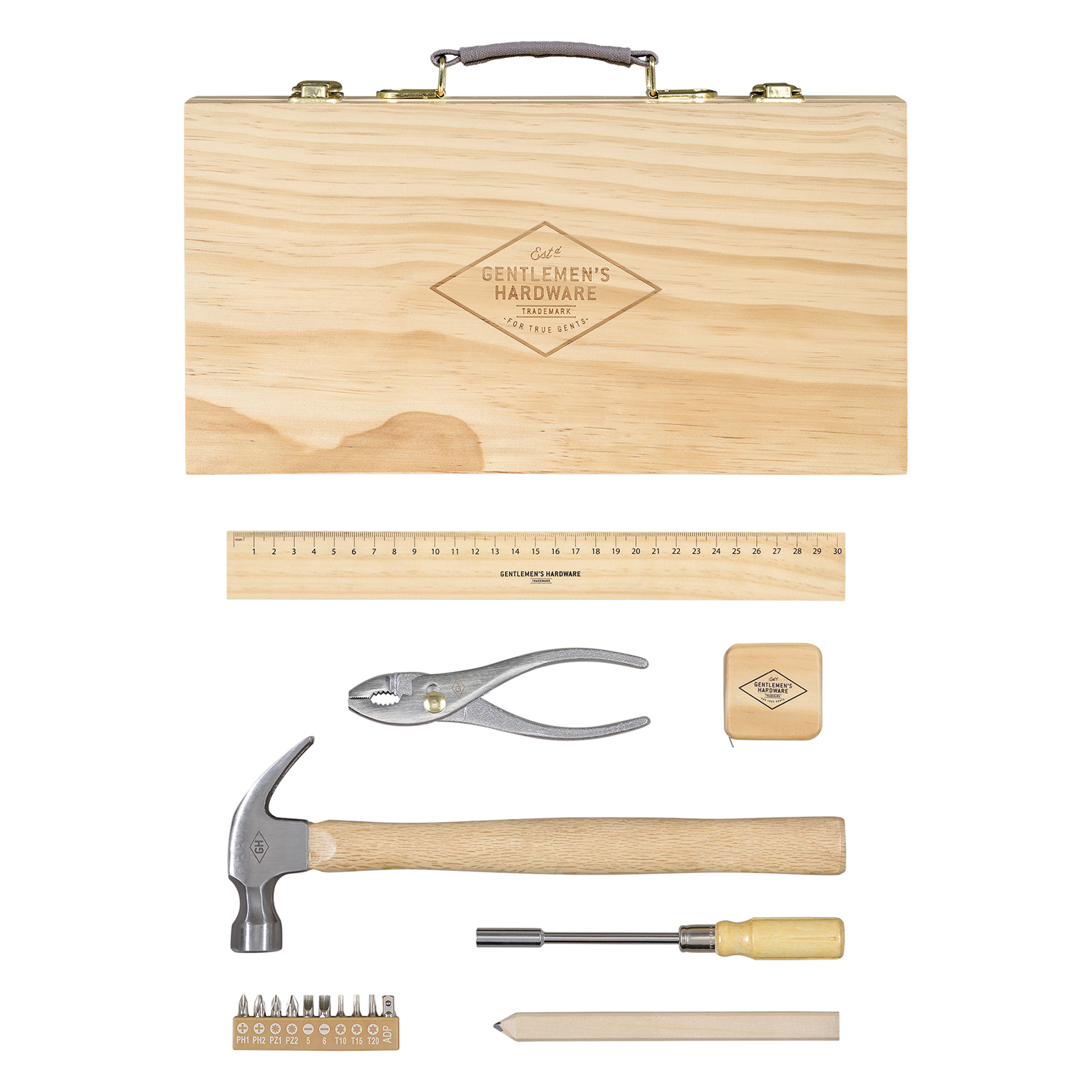 Gentlemen's Hardware – 16 Piece Tool Kit in Beech Wooden Box with Handle