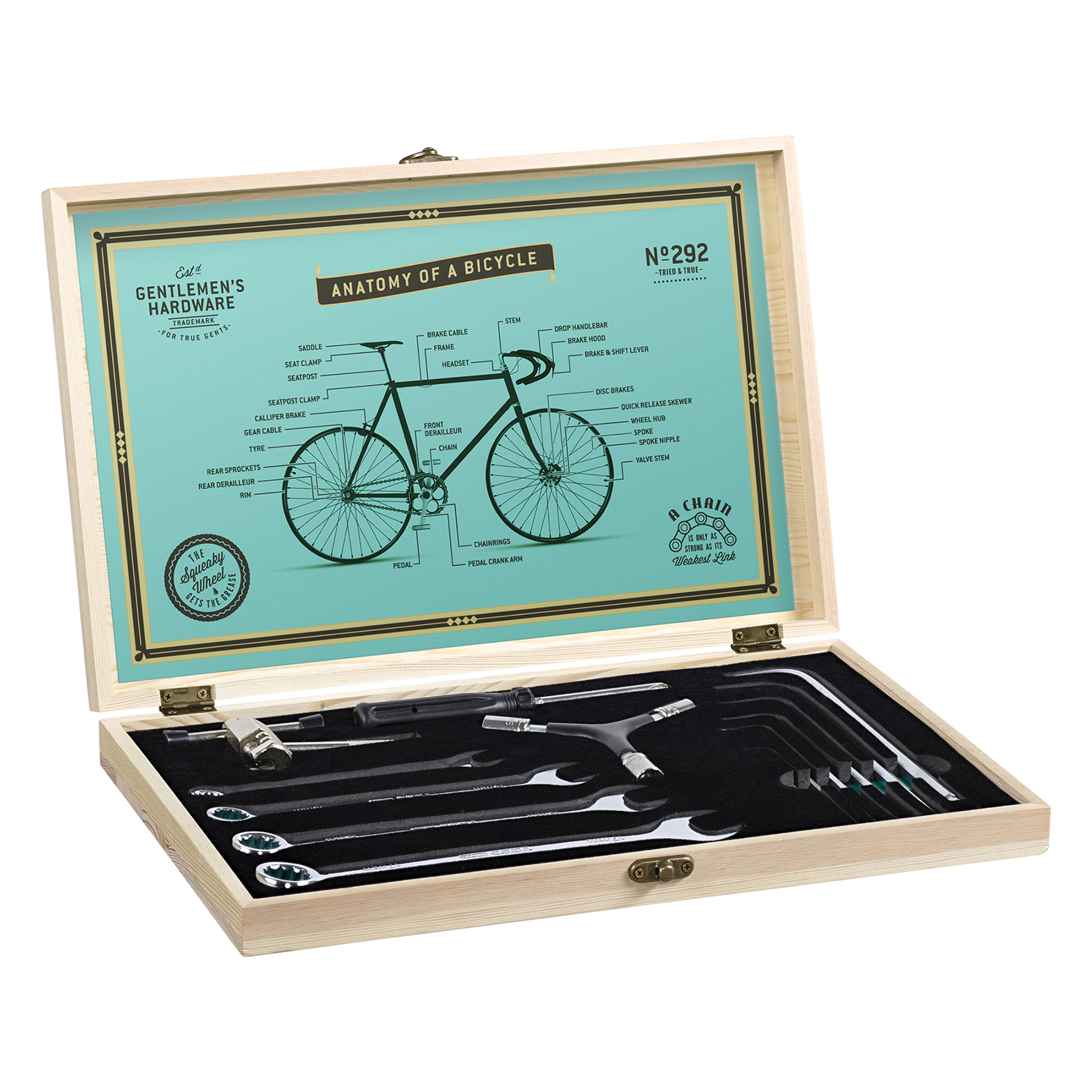 Gentlemen's Hardware – Bicycle Tool Kit in Wooden Box with 16 Stainless Steel Tools