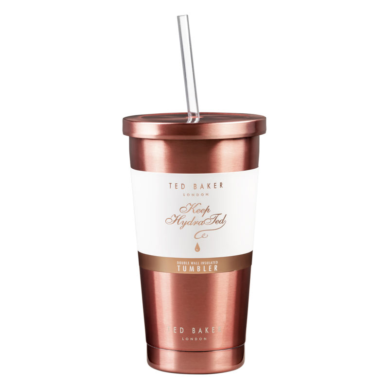 Ted Baker – Rose Gold Stainless Steel Insulated Tumbler with Clear Plastic Straw
