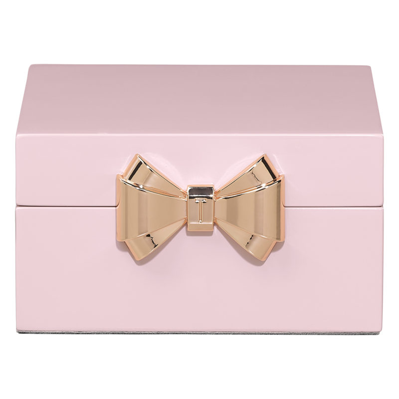 Ted Baker – Small Pink Lacquered Jewellery Box with Rose Gold Bow in Gift Box