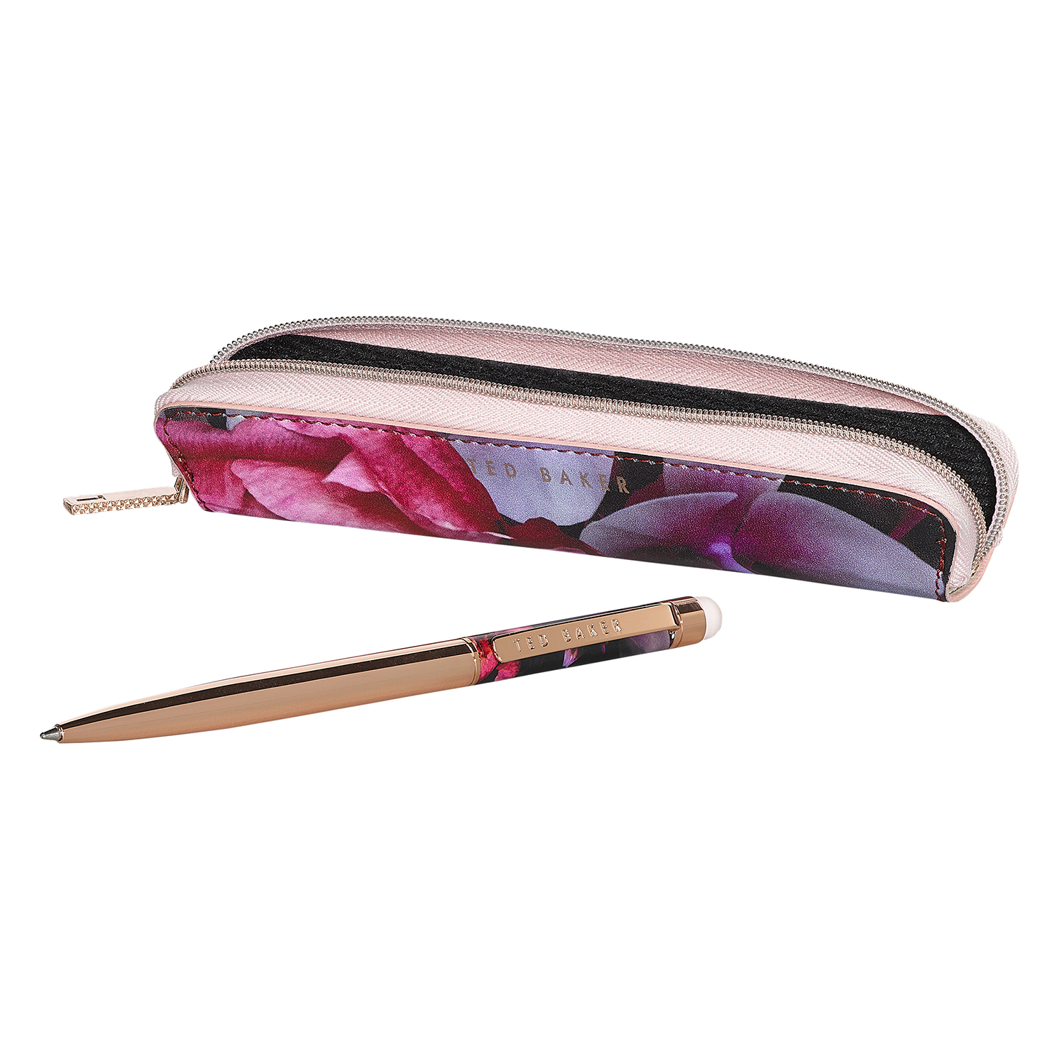 Ted Baker – Black Splendour Case with Rose Gold Touchscreen Slim Pen in Gift Box