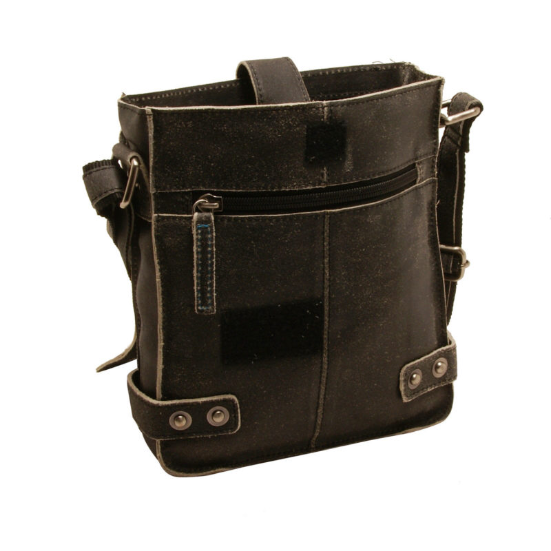 Ashwood – Small Antique Black Vintage Leather Camden Messenger Flight Bag