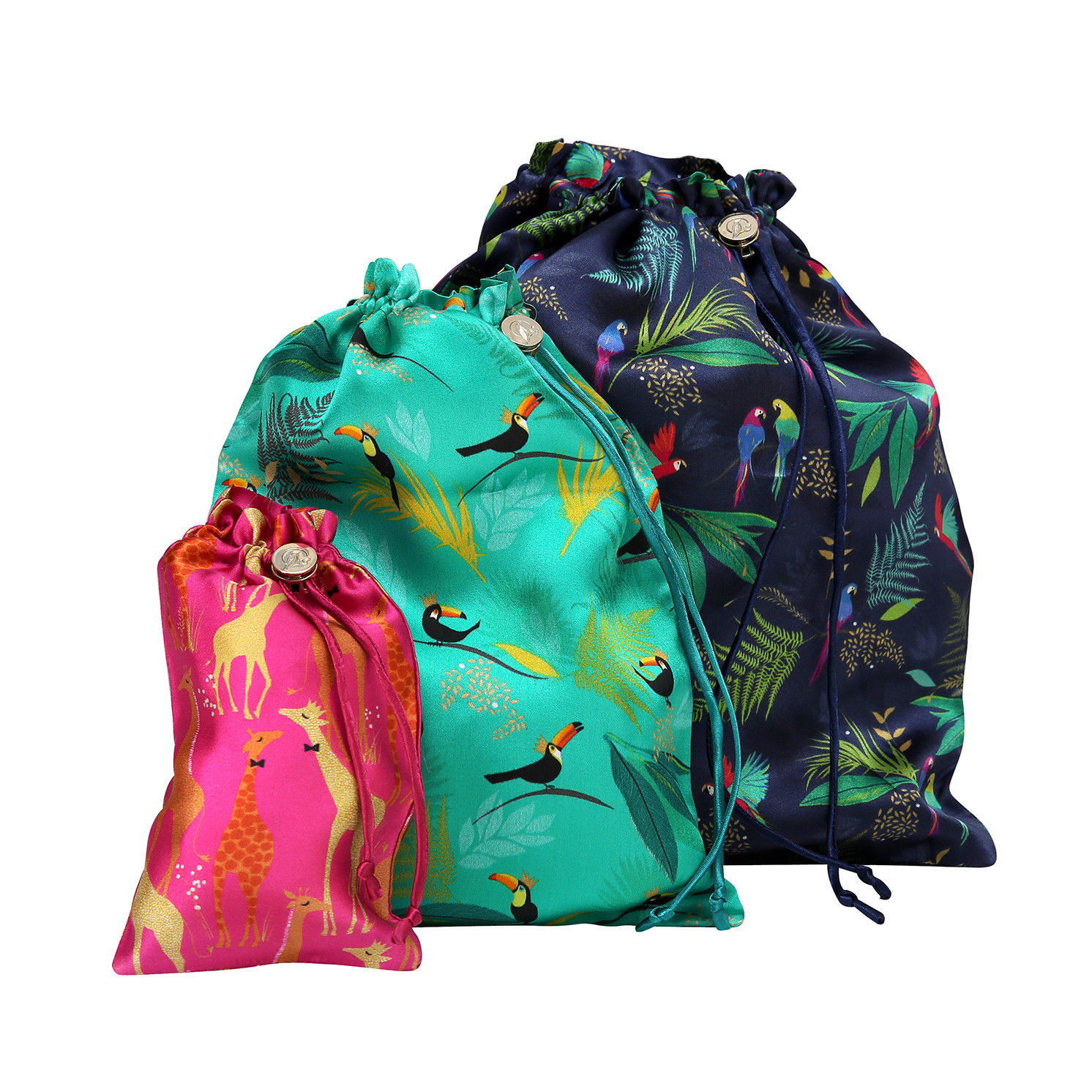Sara Miller – Set of 3 Luxury Silk Tropical Laundry/Travel Bags in Gift Box