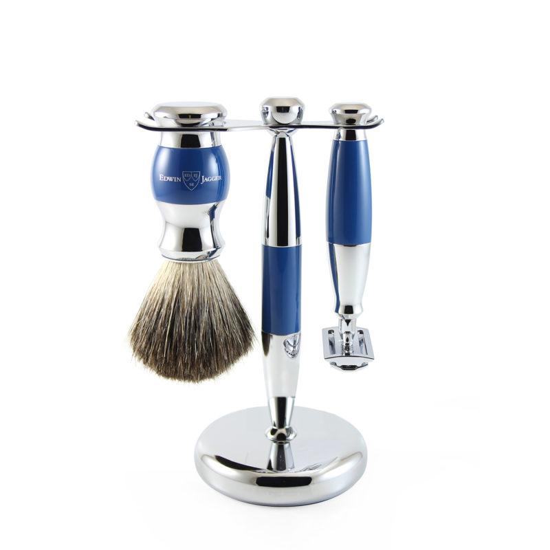 Edwin Jagger – Blue & Chrome 3 Piece DE Safety Razor Shaving Set in Gift Box
