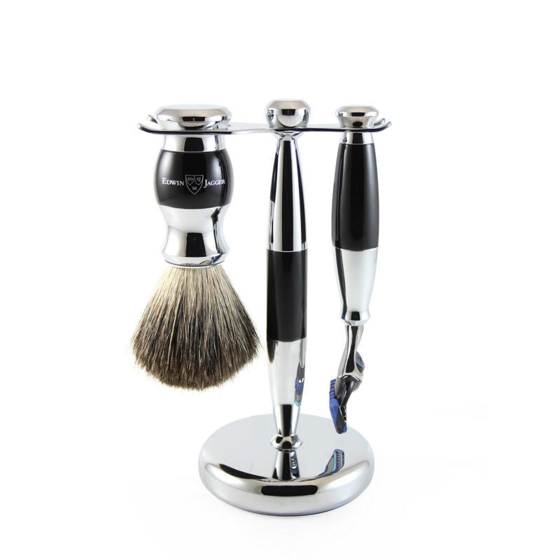 Edwin Jagger – Black & Chrome 3 Piece Fusion Razor Shaving Set in Gift Box