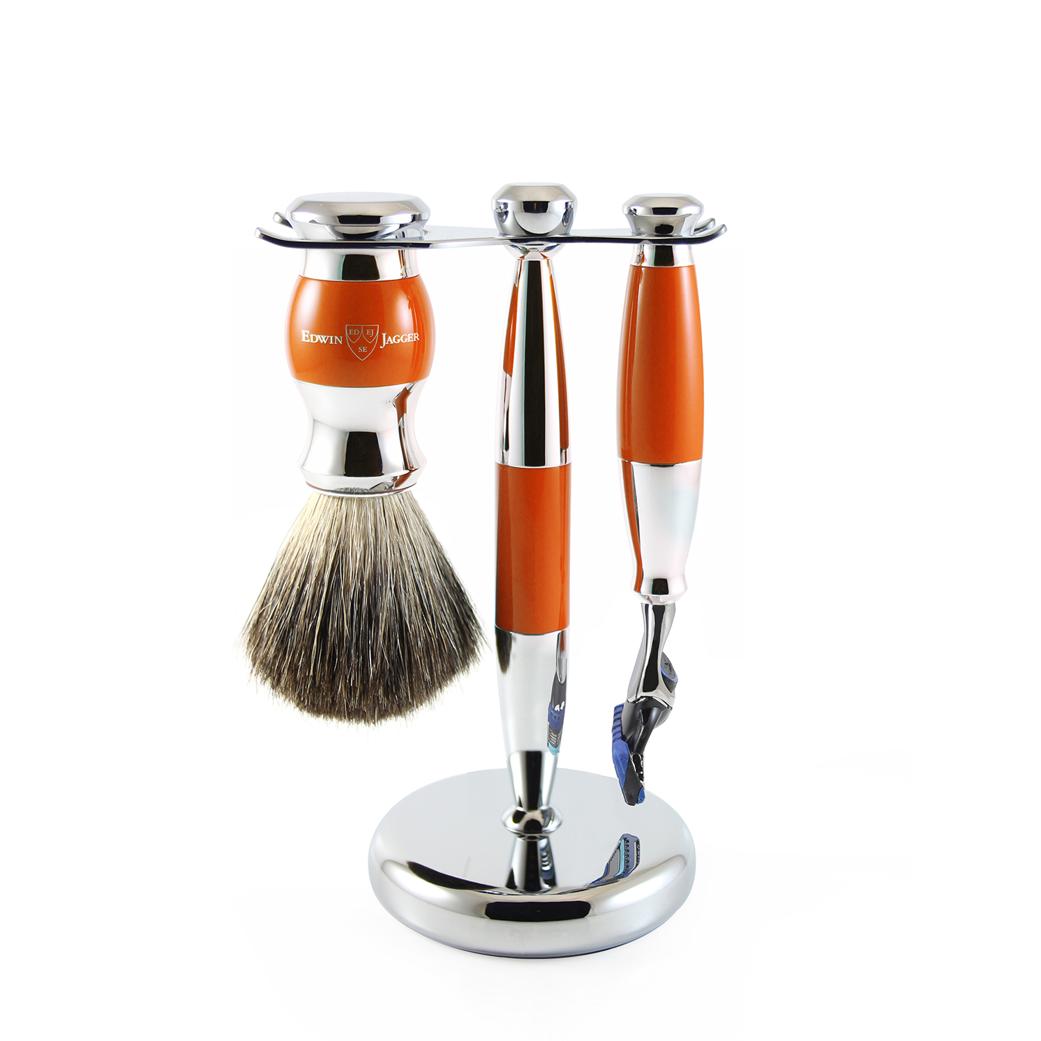 Edwin Jagger – Orange & Chrome 3 Piece Fusion Razor Shaving Set in Gift Box