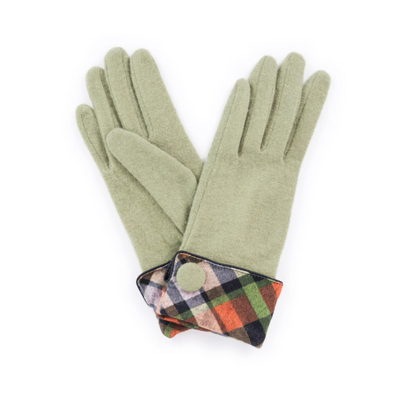 Powder – Pea Green Heather Wool Gloves with Powder Presentation Gift Bag