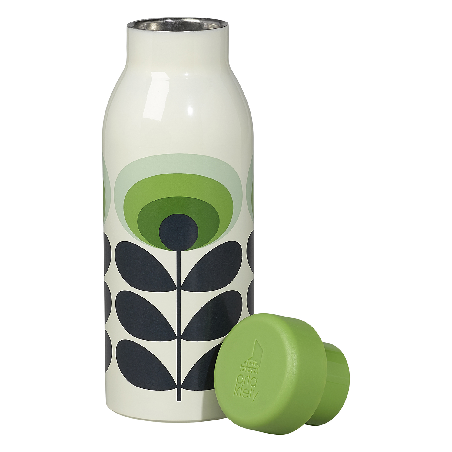 Orla Kiely – 70's Oval Green Flower Print Stainless Steel Insulated Water Bottle
