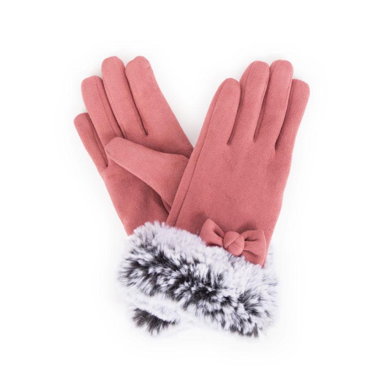 Powder – Rose Pink Faux Suede Phillipa Gloves in Powder Presentation Gift Box