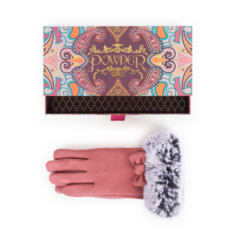Powder – Rose Pink Faux Suede Phillipa Gloves in Powder Presentation Gift Box