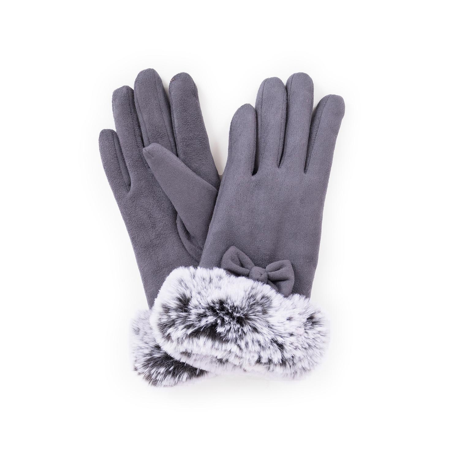 Powder – Charcoal Grey Faux Suede Phillipa Gloves in Powder Presentation Box