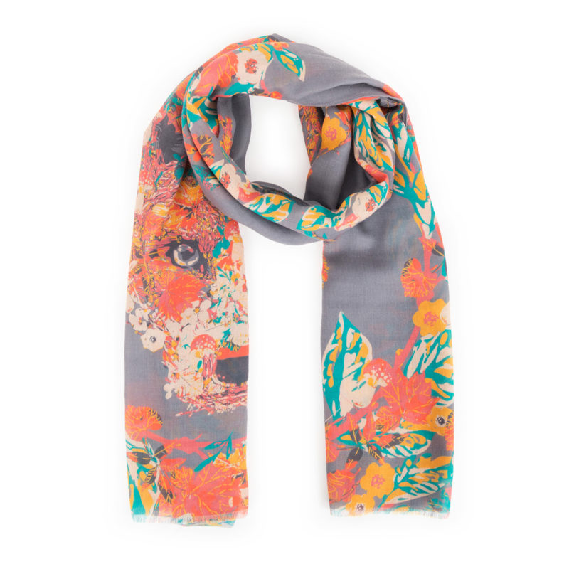 Powder – Slate Grey Floral Fox Print Scarf with Powder Presentation Gift Bag