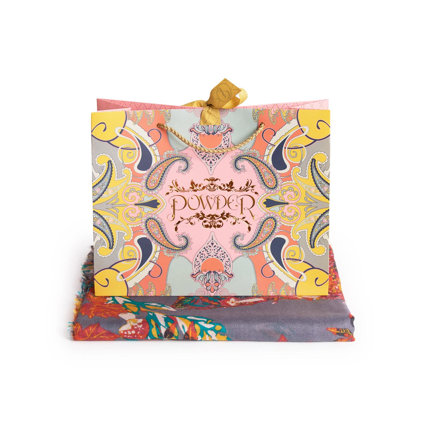 Powder – Slate Grey Floral Fox Print Scarf with Powder Presentation Gift Bag