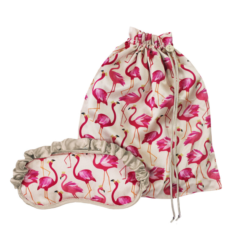 Sara Miller – Pink Flamingo Silk Eye Mask & Travel Bag Set in Presentation Box