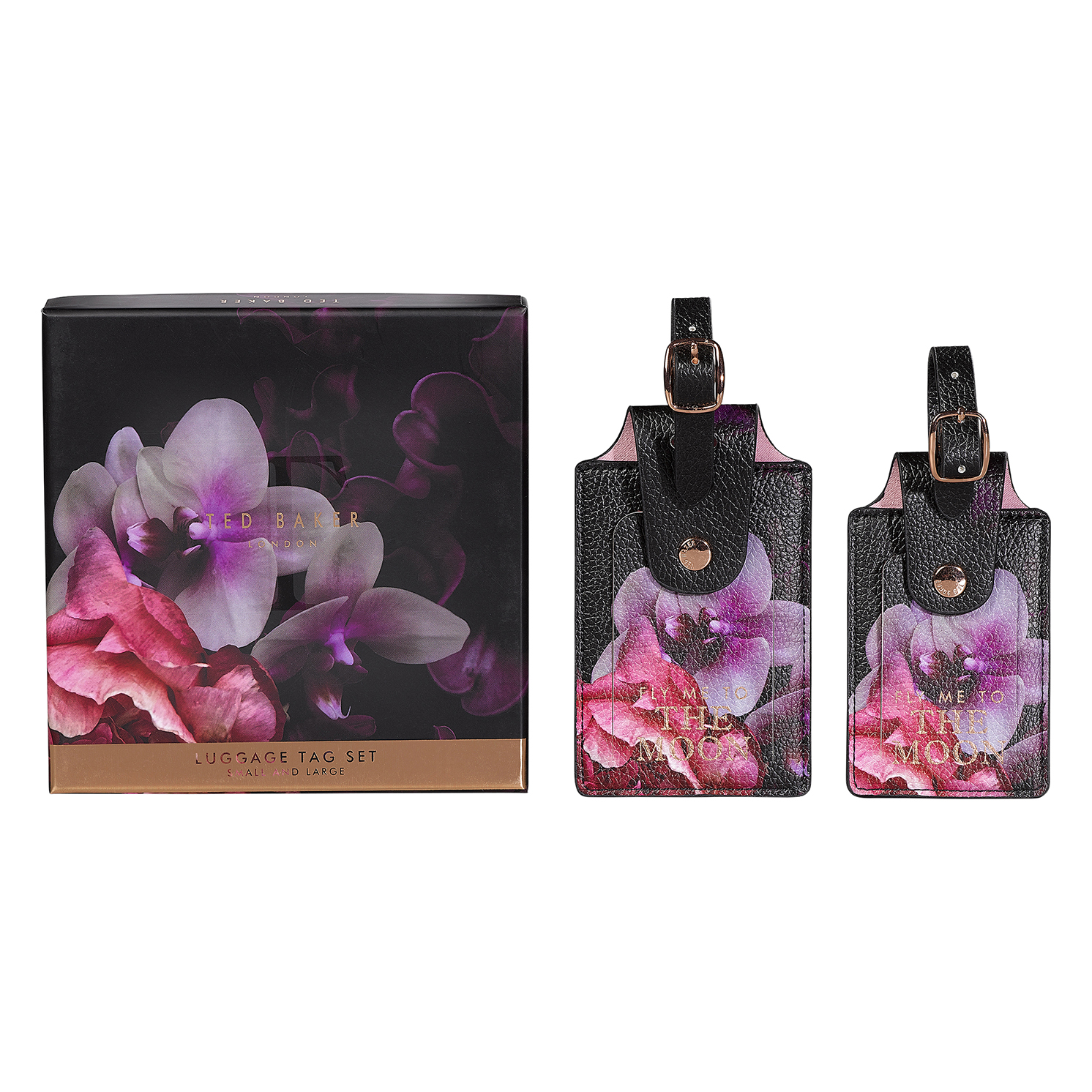 Ted Baker – Set of 2 Black Splendour Luggage Tags in Presentation Gift Box