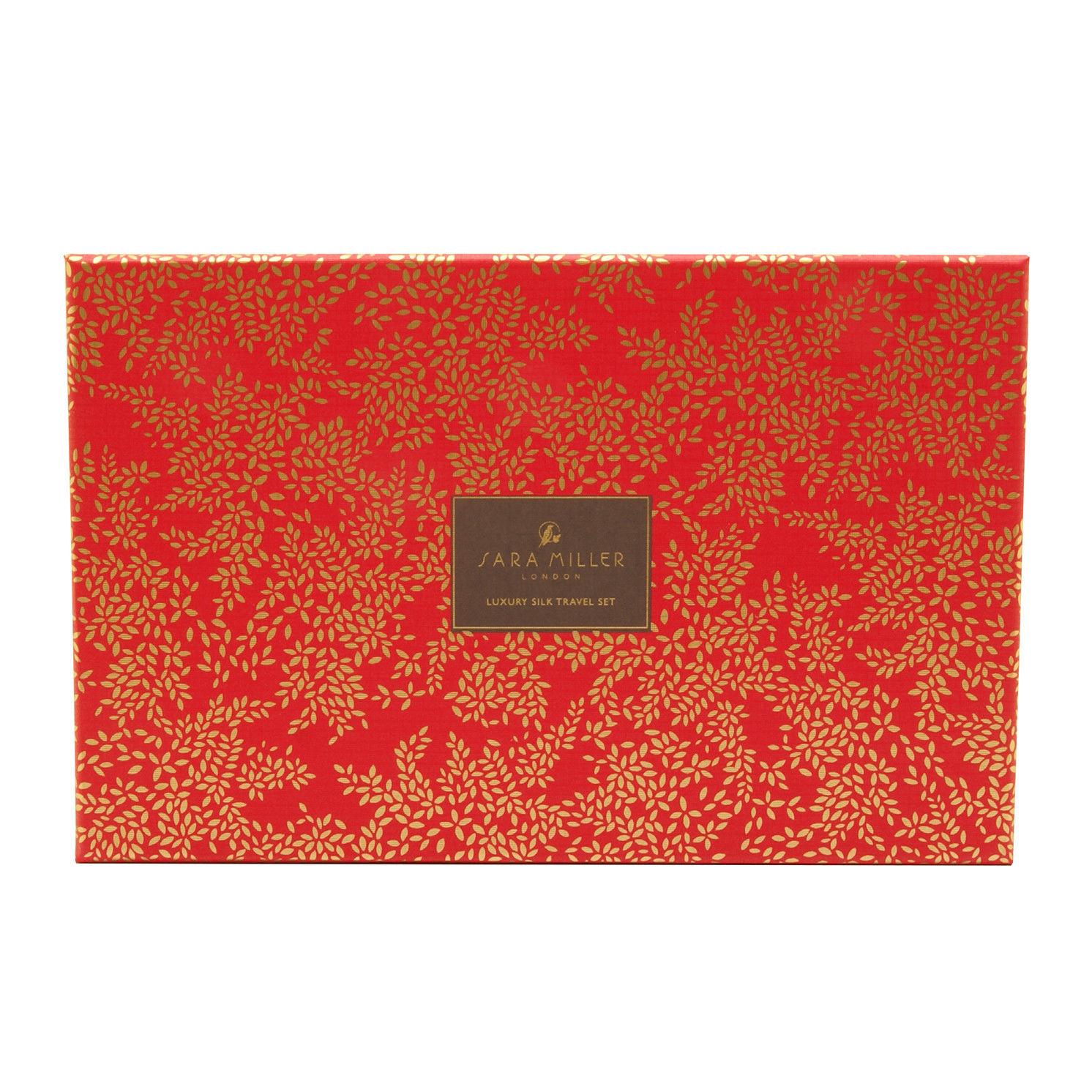 Sara Miller – Pink Flamingo Silk Eye Mask & Travel Bag Set in Presentation Box
