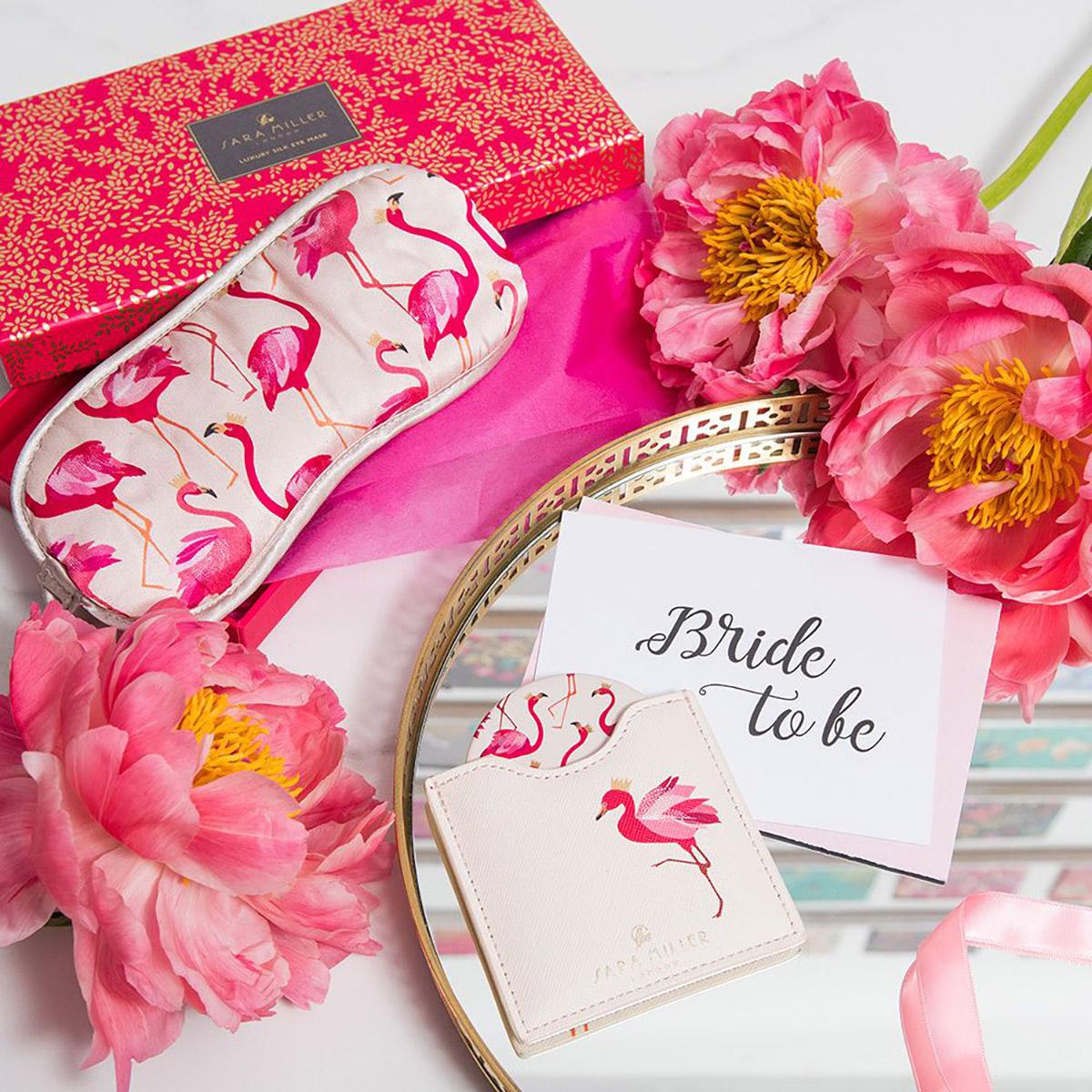 Sara Miller – Pink Flamingo Silk Eye Mask in Presentation Box