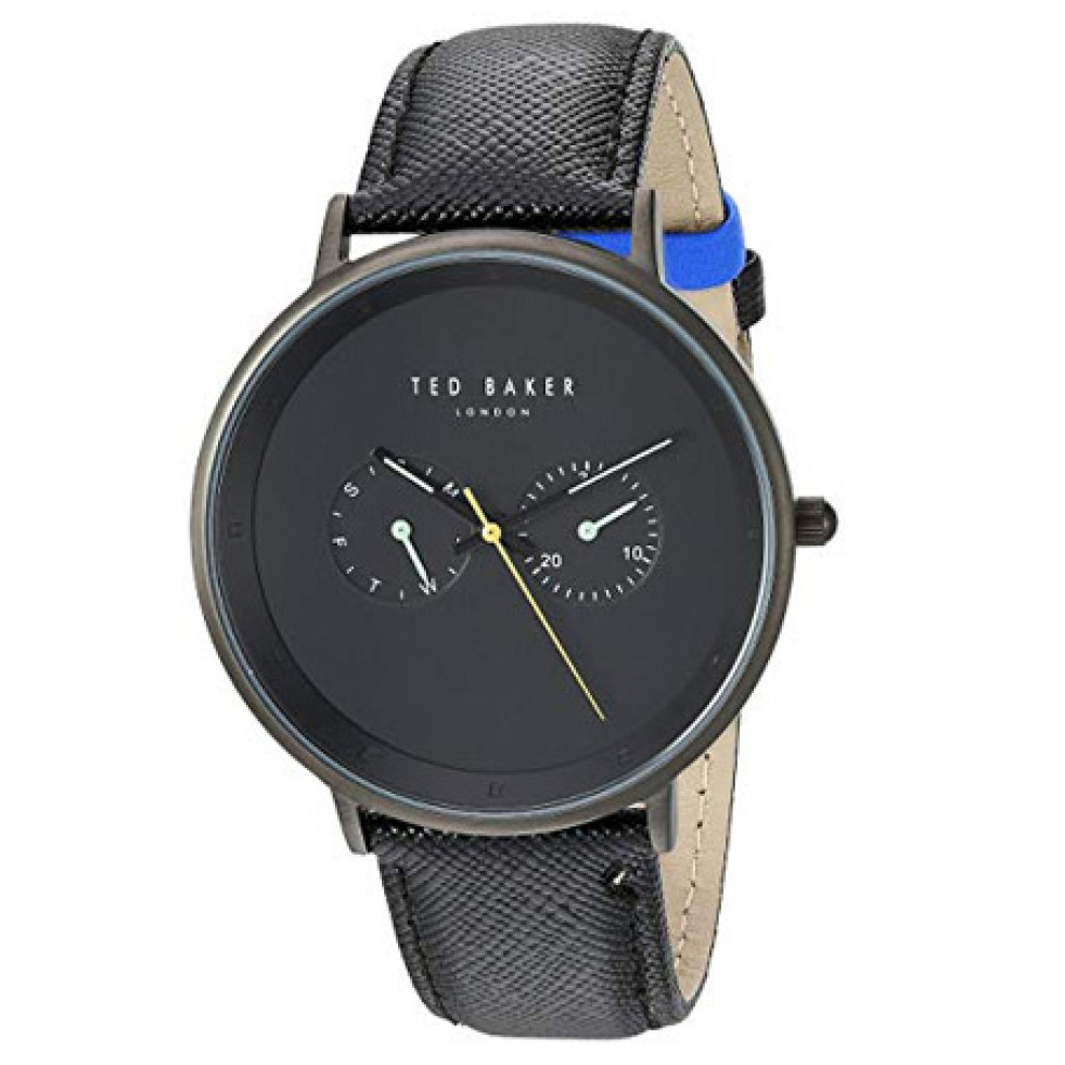 Ted Baker – BRAD Black Textured Leather Strap Watch in Presentation Gift Box