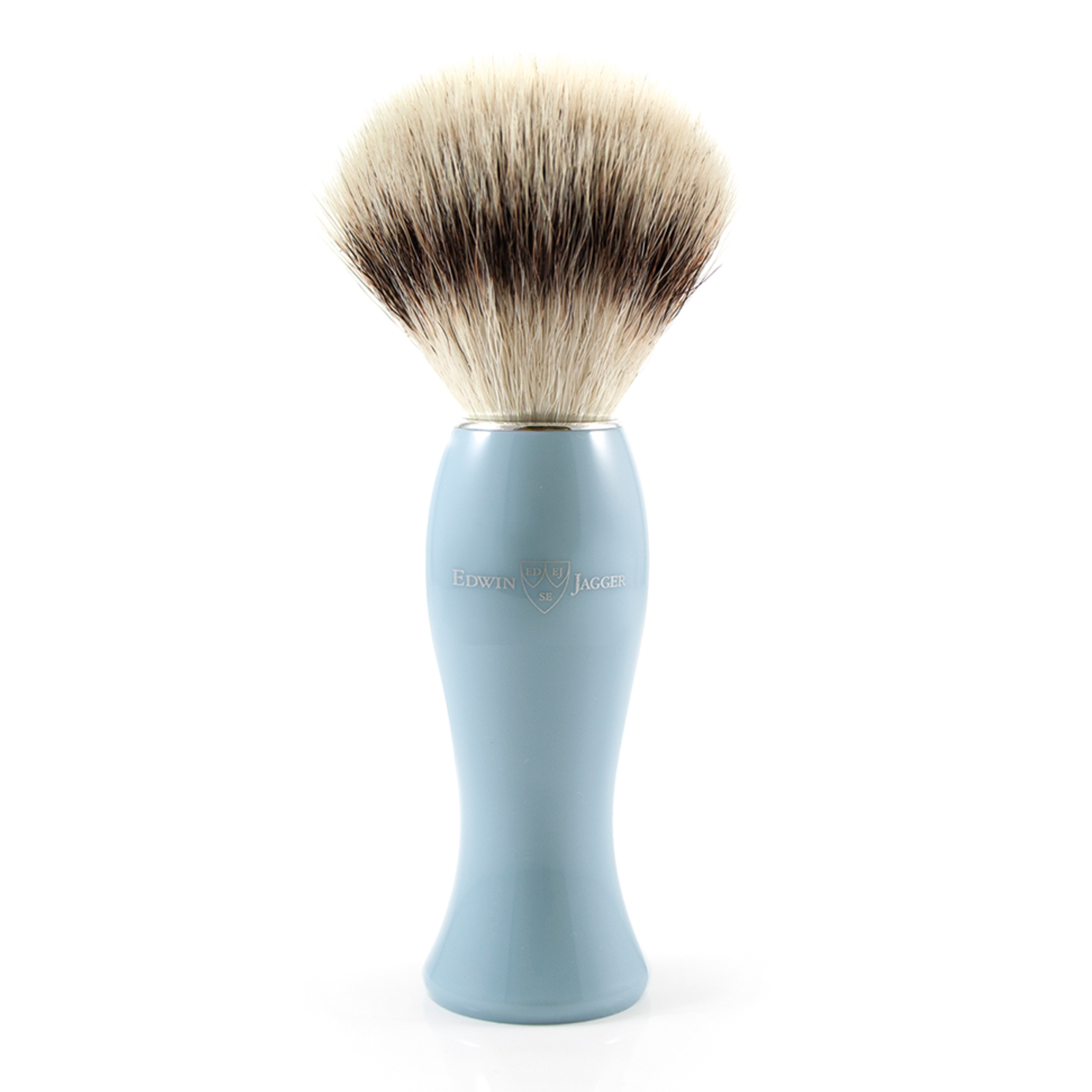 Edwin Jagger – Blue Shaving Brush with Synthetic Silver Tip in Gift Box