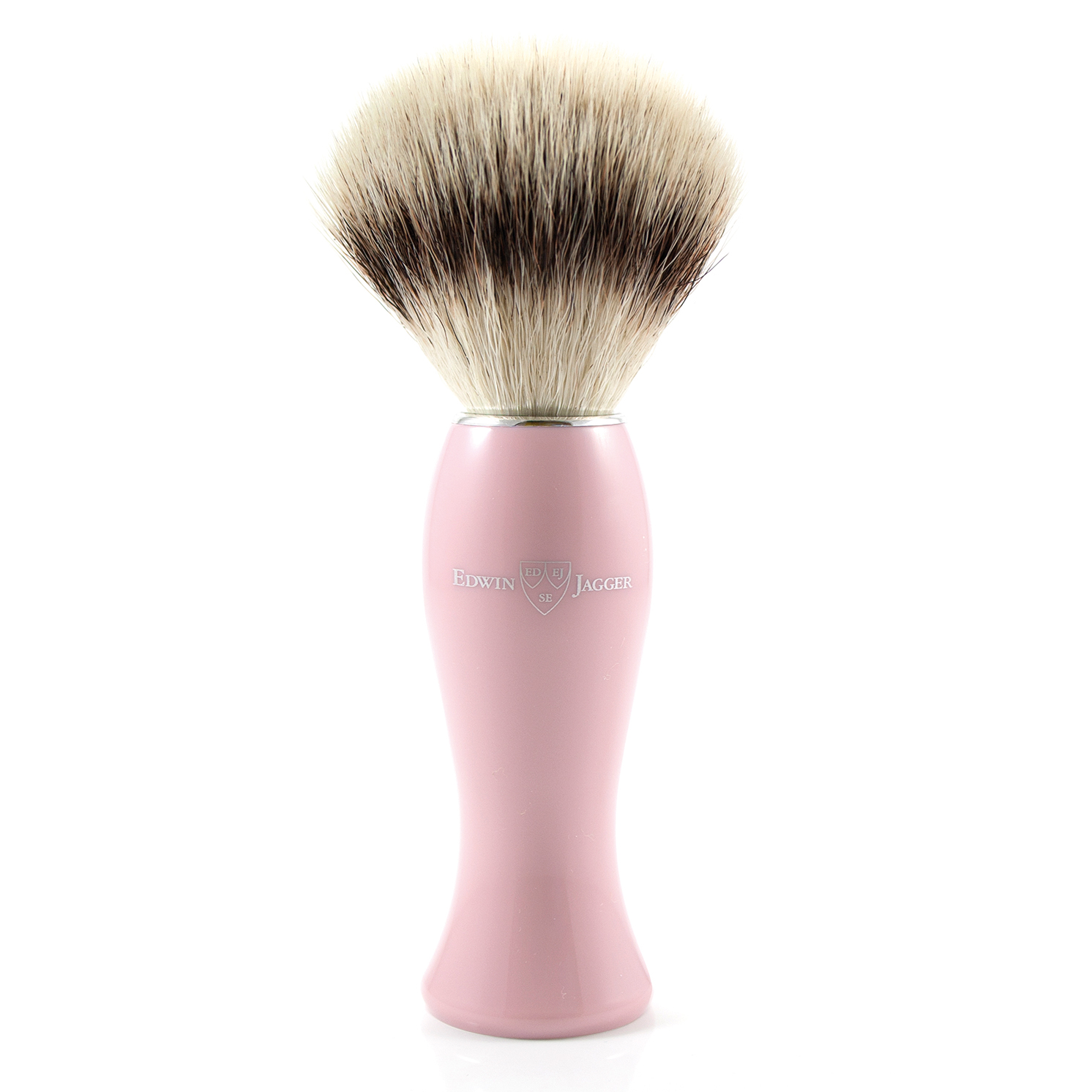 Edwin Jagger – Pink Shaving Brush with Synthetic Silver Tip in Gift Box