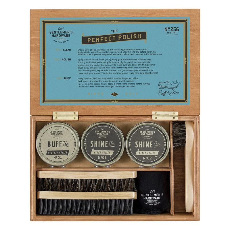Gentlemen's Hardware – 7 Piece Shoe Shine Kit in Brown Presentation Cigar Box