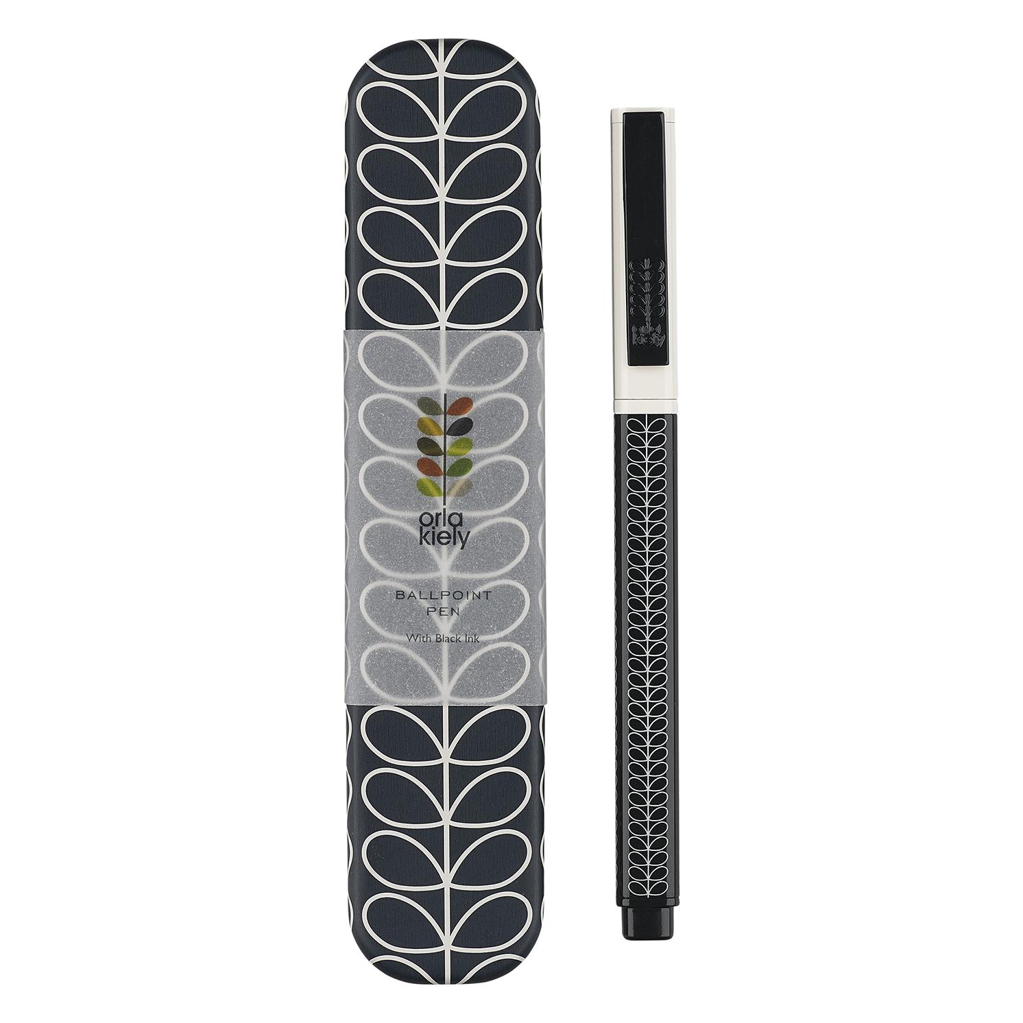 Orla Kiely – Navy Linear Stem Ballpoint Pen in Metal Presentation Gift Tin