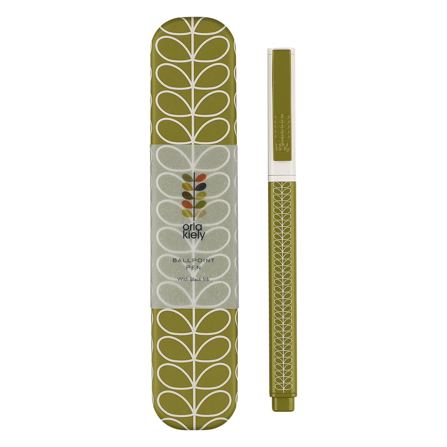 Orla Kiely – Seagrass Linear Stem Ballpoint Pen in Metal Presentation Gift Tin