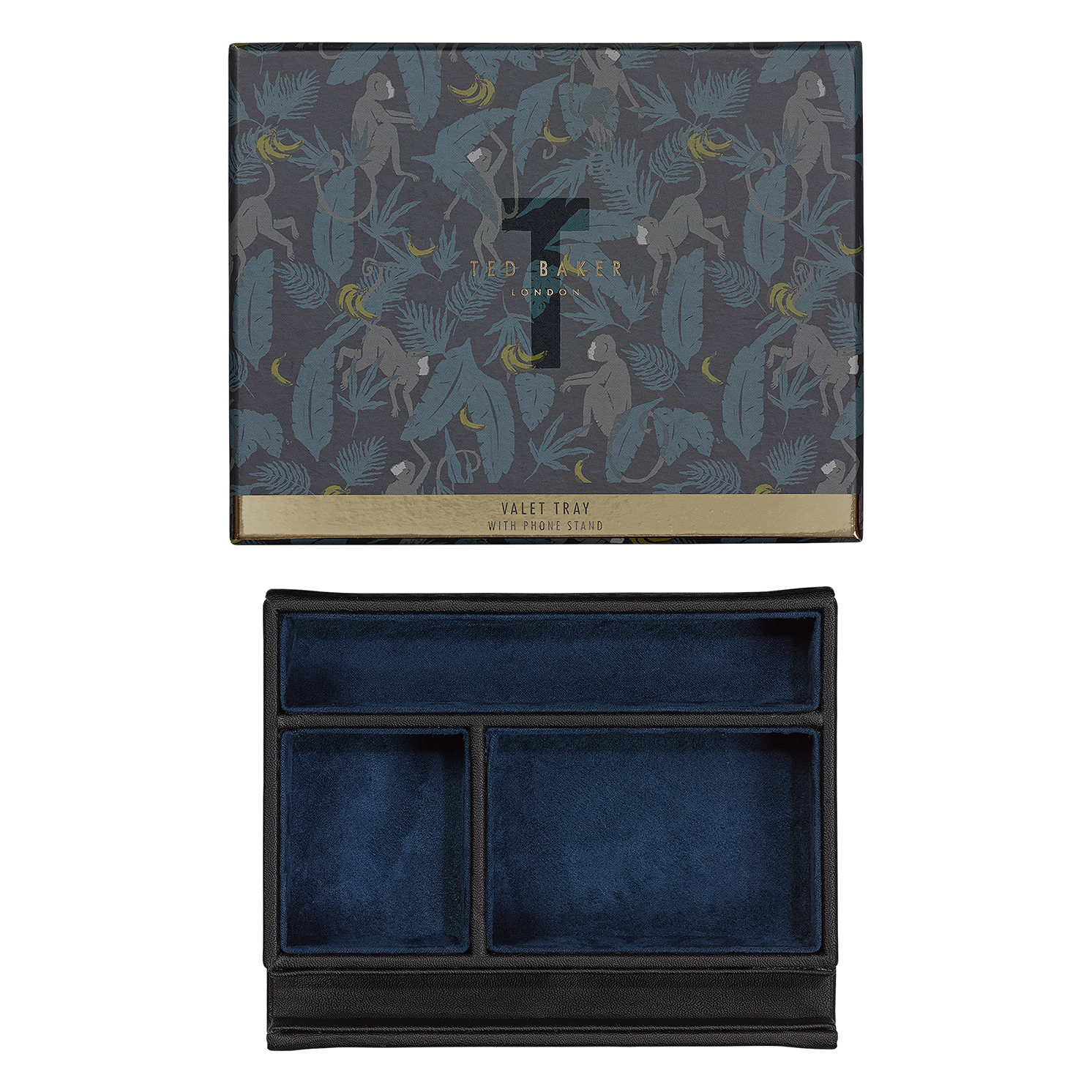 Ted Baker – Black Brogue Valet Tray with Phone Stand in Presentation Gift Box