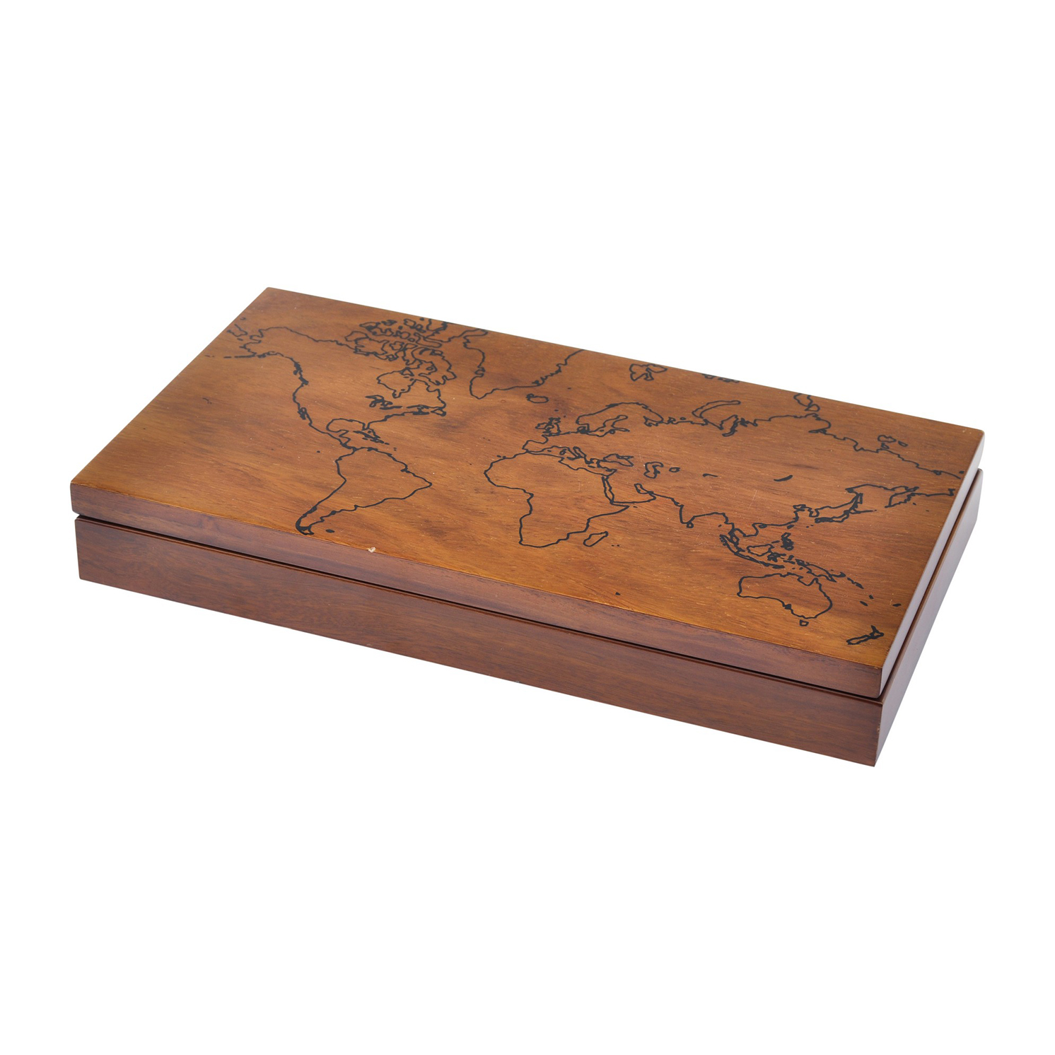 Libra – Burnham World Map Trinket Box in Sheesham Wood