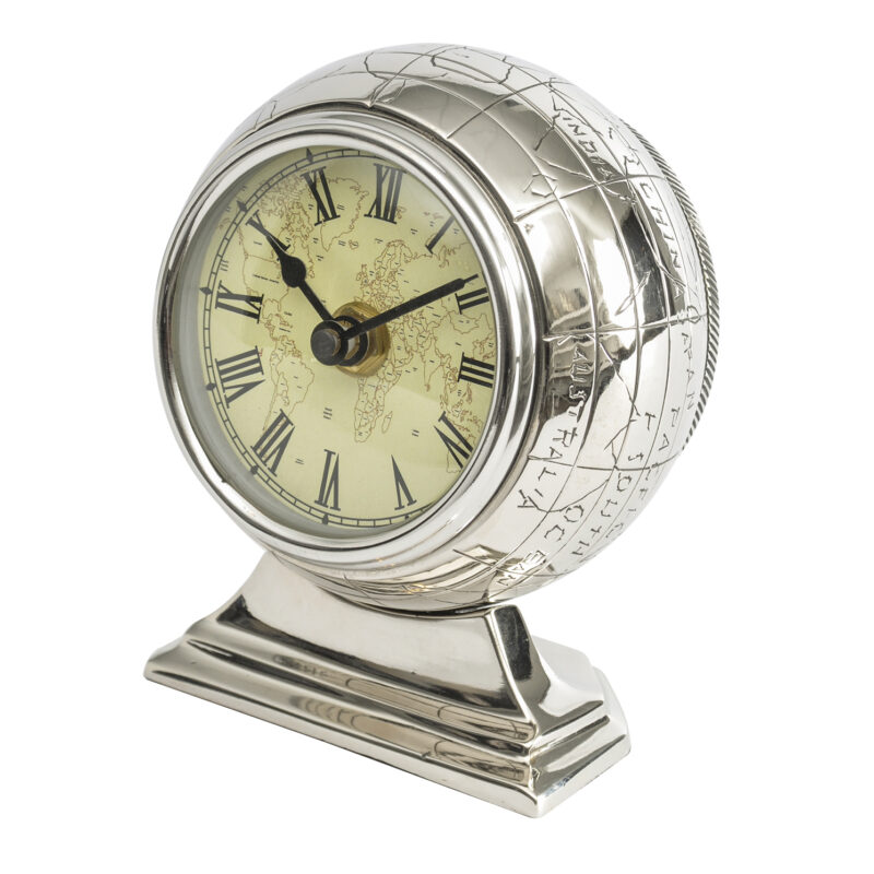Libra – Currington Nickel Globe Mantel Table Clock