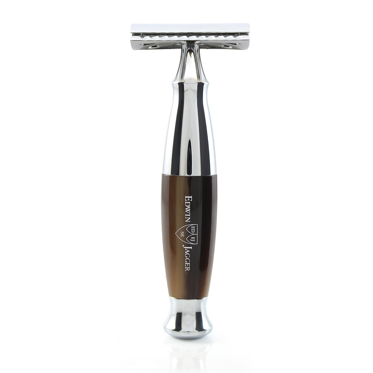 Edwin Jagger – Imitation Brown Horn and Chrome DE Safety Razor in Gift Box