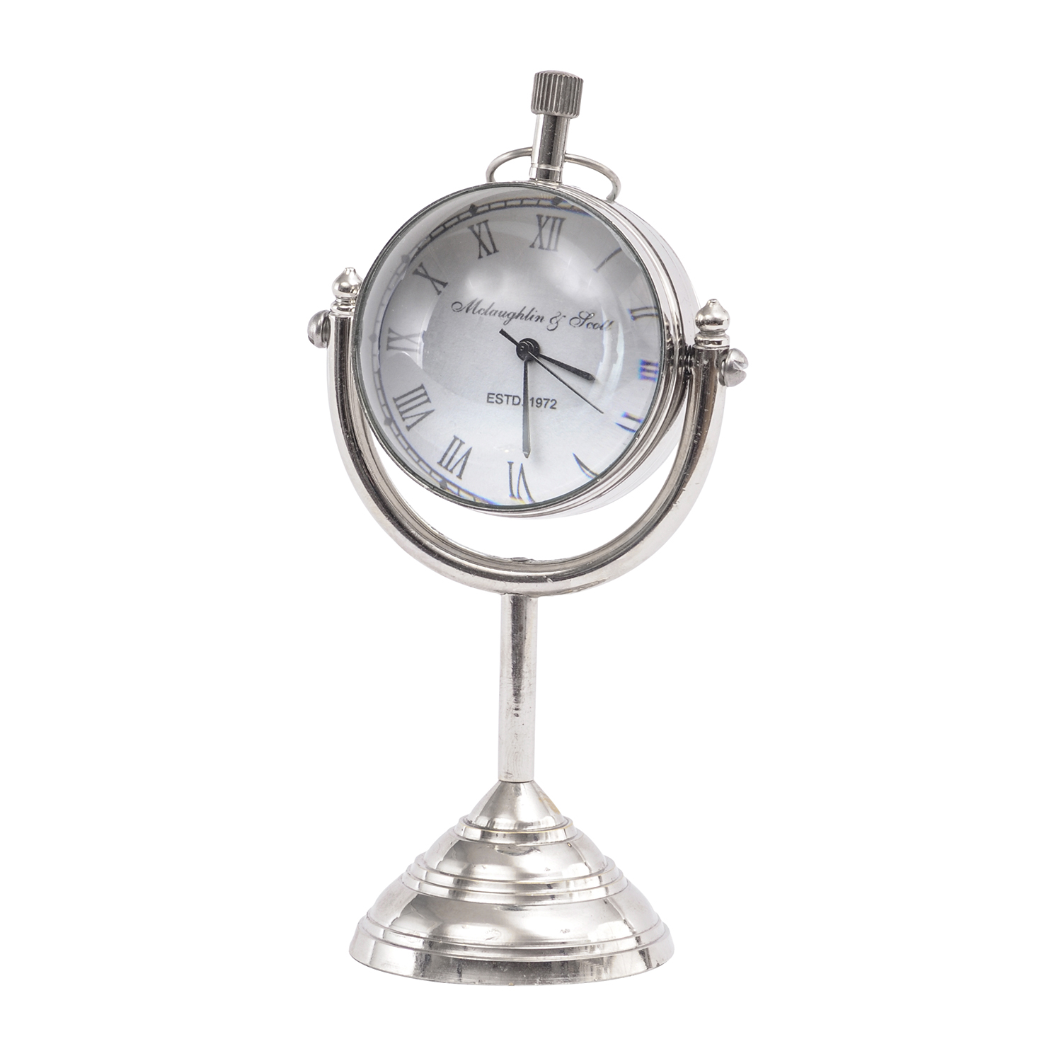 Libra – Mini Nickel Globe Paperweight Mantel Clock