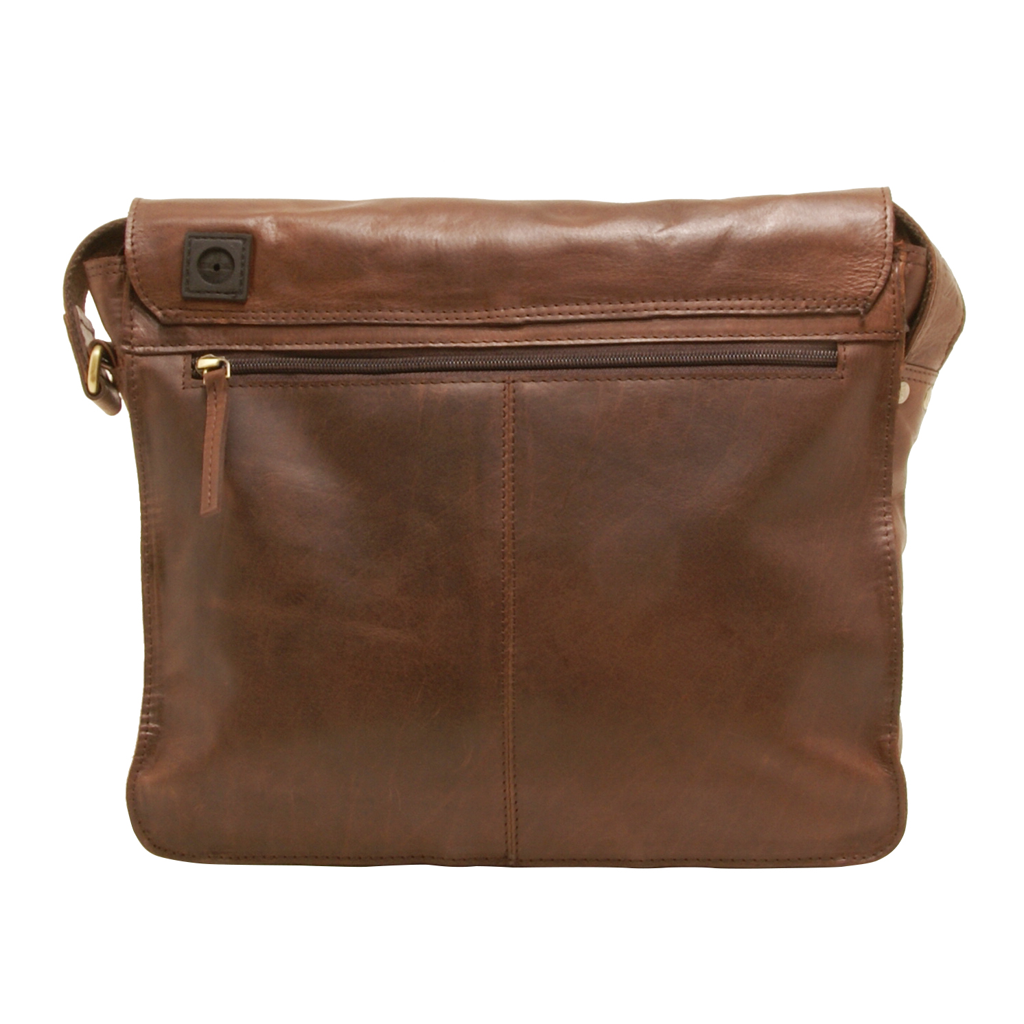 Rowallan – Brown East/West Medium Pittsburgh Messenger Bag in Buffalo Leather