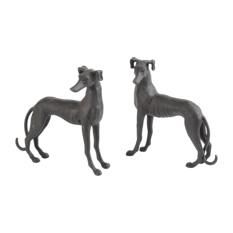 Libra – Set of 2 Whippet Dog Sculptures Cast in Aluminium and finished in Black
