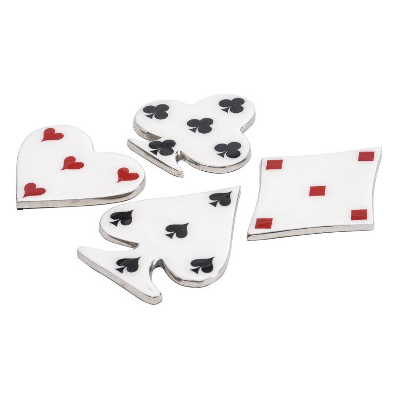 Libra – Set of 4 Enamel Aluminium Playing Card Drinks Coasters