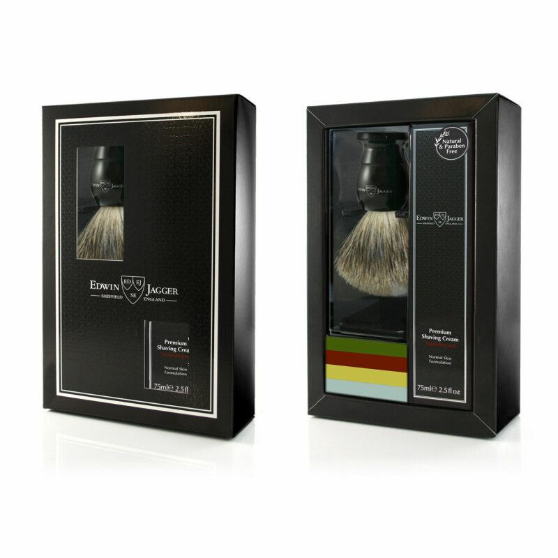 Edwin Jagger – Black Shaving Brush & Sandalwood Shaving Cream Boxed Gift Set