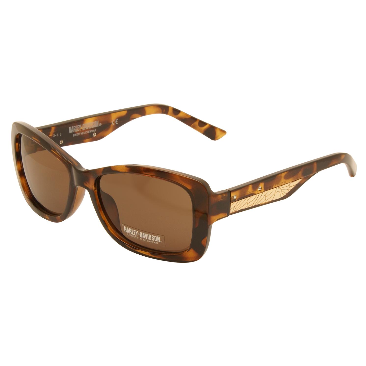 Harley Davidson – Brown Tortoiseshell/Diamante Classic Sunglasses with Case