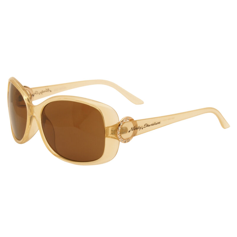 Harley Davidson – Clear Gold with Diamante Classic Style Sunglasses with Case