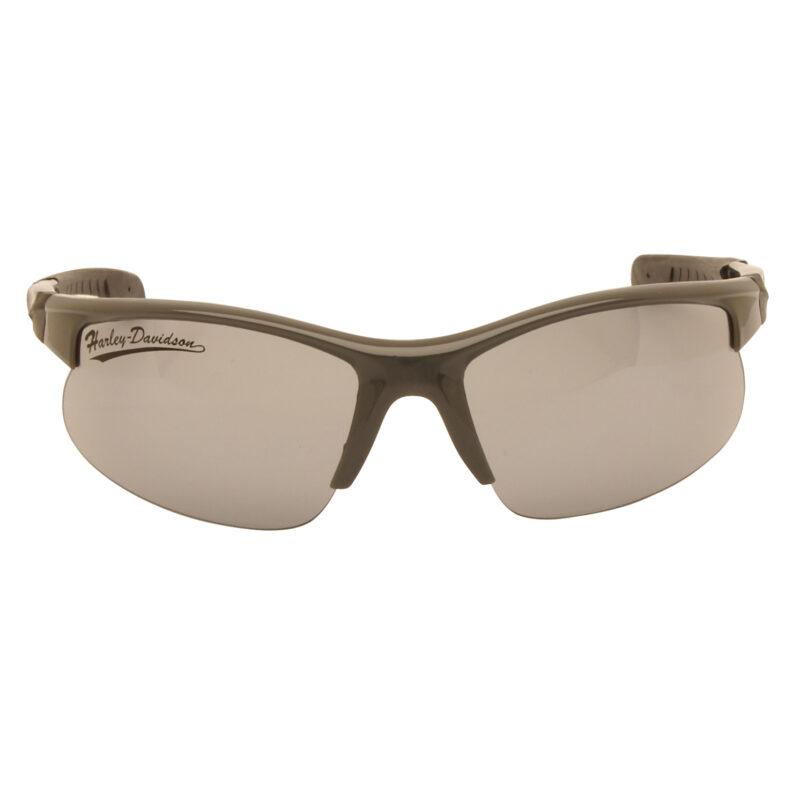 Harley Davidson – Shiny Grey & Black Wraparound Style Sunglasses with Case