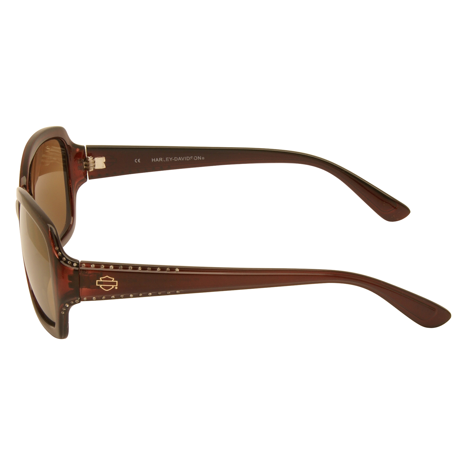 Harley Davidson – Shiny Brown with Diamante Classic Style Sunglasses with Case