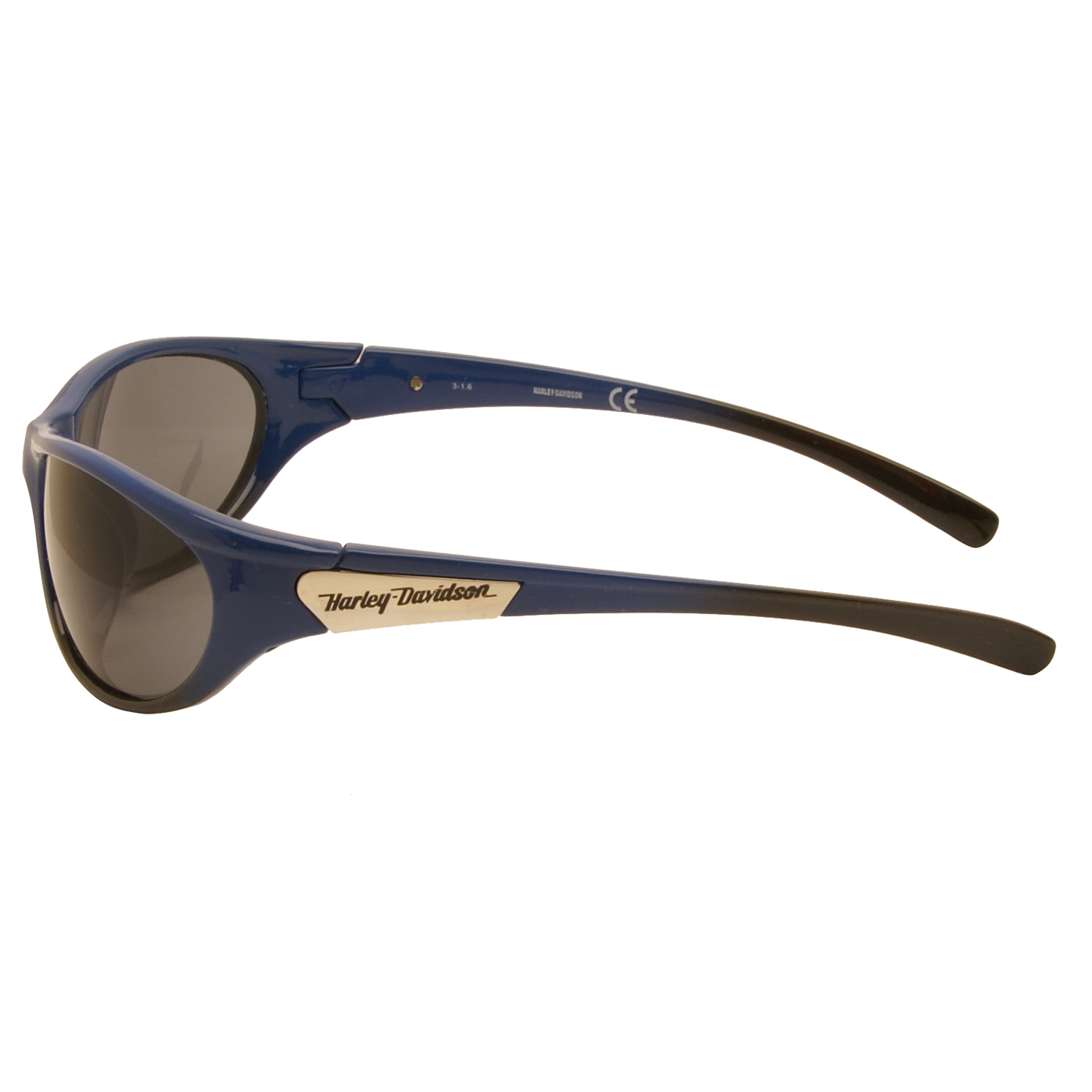 Harley Davidson – Shiny Blue & Black Wraparound Style Sunglasses with Case